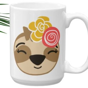 Sloth Girl Smiling Coffee Cup Cute Adorable Sloth Mug