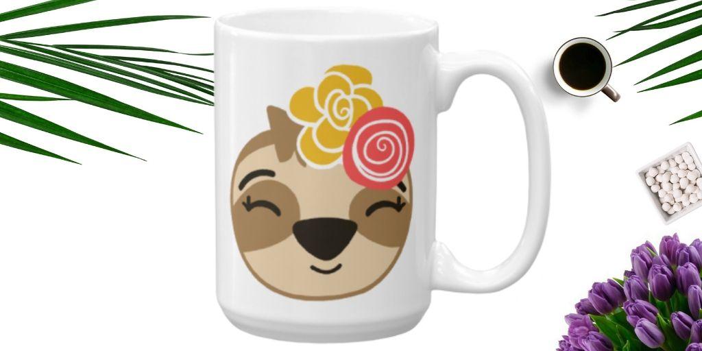 Sloth Girl Smiling Coffee Cup Cute Adorable Sloth Mug
