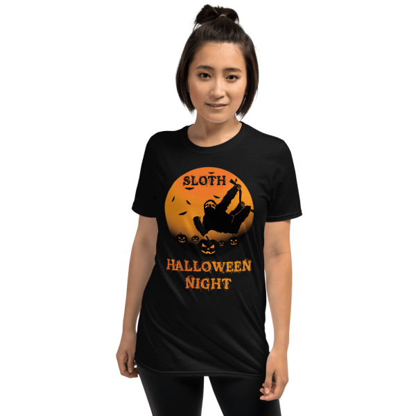 Unique Sloth Pumpkin Patch Halloween Scary Tshirt Unisex Sloth Black Shirt