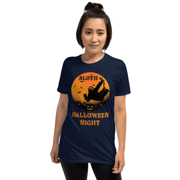 Unique Sloth Pumpkin Patch Halloween Scary Tshirt Unisex Sloth Navy Shirt