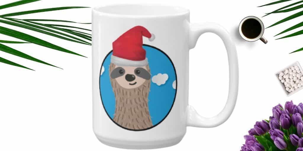 Adorable Santa Sloth Coffee Cup