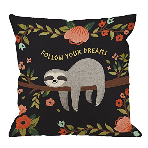 Adorable Sloth Follow Your Dream Throw Pillow Home Decor