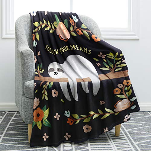 Adorable Sloth Print Throw Blanket Follow Your Dreams