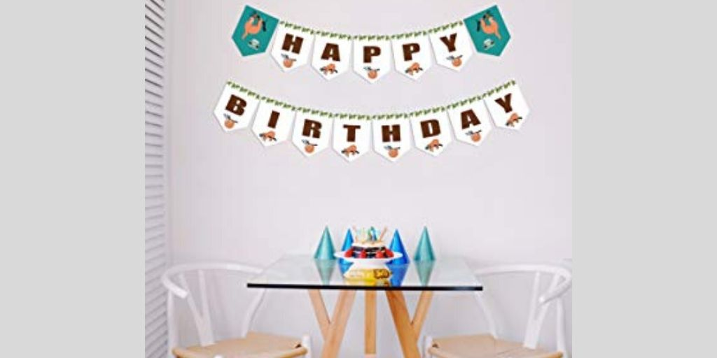 Awesome Sloth Happy Birthday Banner a Celebratory and Festive Decor