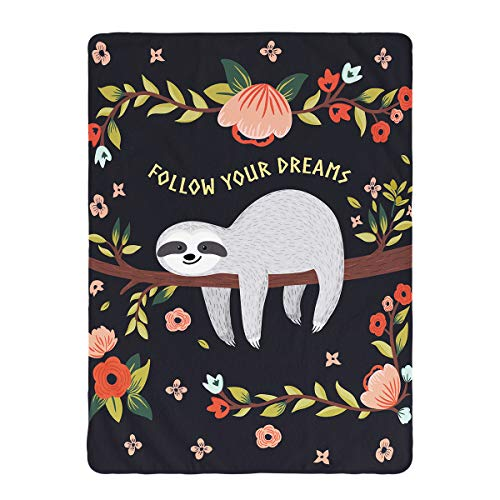 Big Sloth Print Throw Blanket Follow Your Dreams