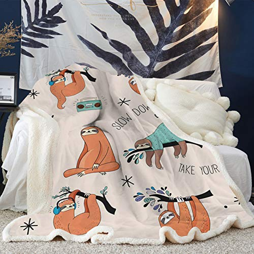 Cool New Sloth Sherpa Fleece Blanket 50 x 60 in Warm Cozy Sloth
