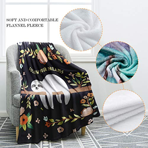 Cool Sloth Print Throw Blanket Follow Your Dreams