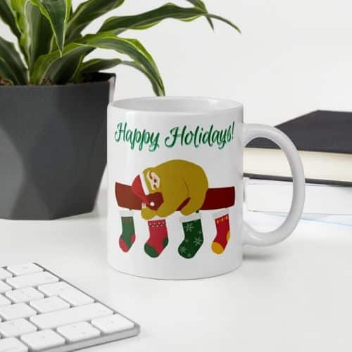 Cute Happy Holidays Sloth Stocking Coffee Cup