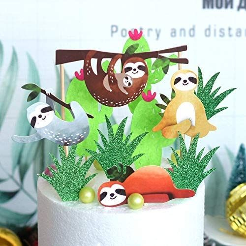 Cute Sloth Cake Toppers for Your Sloth Themed Party 4 Piece
