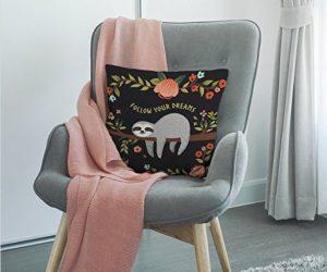 Delightful Sloth Follow Your Dream Throw Pillow Home Decor