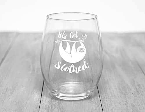 Hilarious Funny Bone Lets Get Slothed Wine Glass 15 oz