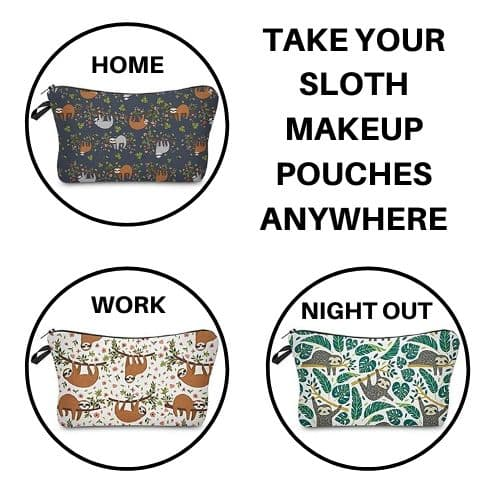 Incredible Sloth Makeup Pouches Set of 3