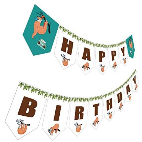 New Sloth Happy Birthday Banner a Celebratory and Festive Decor