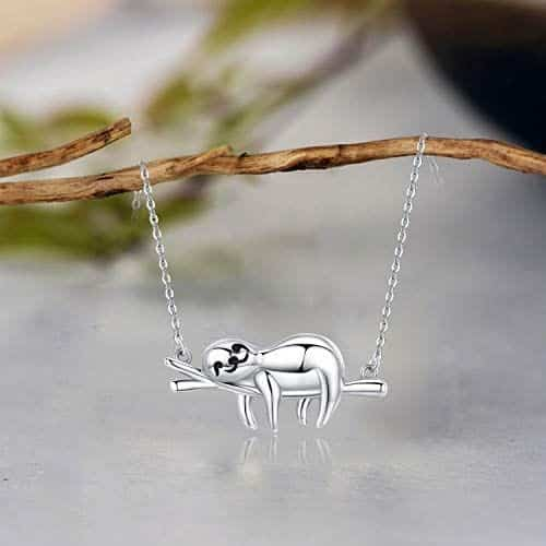 New Sloth Pendant Necklace Sterling Silver