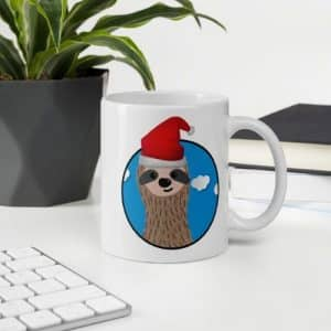 Santa Sloth Cup of Coffee