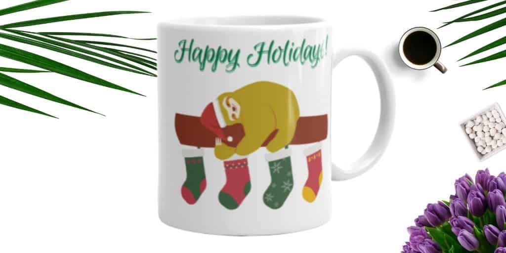 Sloth Happy Holidays Sloth Stocking Coffee Cup