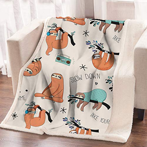 adorable New Sloth Sherpa Fleece Blanket 50 x 60 in Warm Cozy Sloth