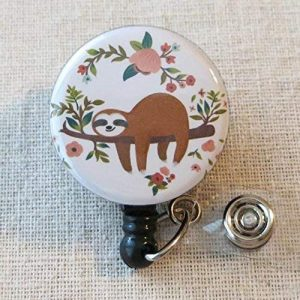 Adorable SLOTH Retractable Name Sloth Themed Badge Holder
