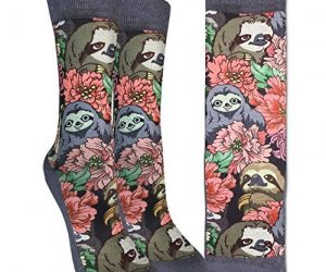 Adorable Women Floral Sloths Crew Socks Good Luck