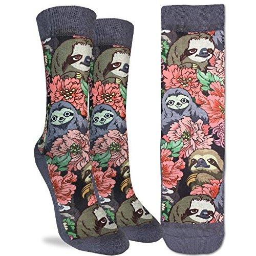 Adorable Women Floral Sloths Crew Socks Good Luck