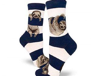 Cute Adorable Navy Sloth Stripe Women Crew Socks