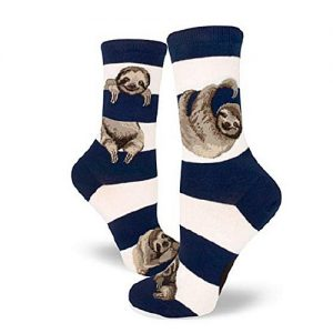 Cute Adorable Navy Sloth Stripe Women Crew Socks