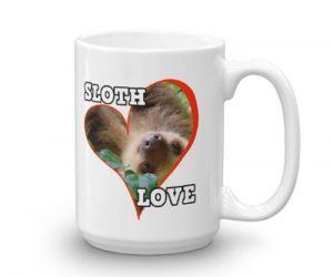 Sloth Behind a Heart Sloth Love Coffee Mug