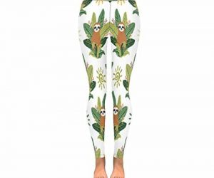 Tropical Leaves Women Stretchy Sloth Leggings Yoga Pants Front Side View