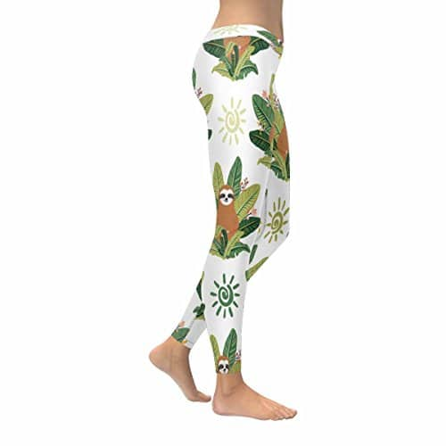 Tropical Leaves Women Stretchy Sloth Leggings Yoga Pants Right Side View