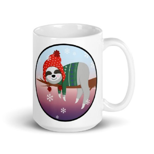 Dreamy Sleeping Sloth Holiday Coffee Cup