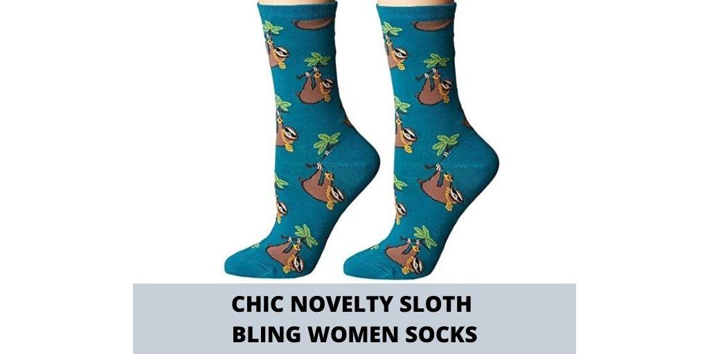 Socksmith Novelty Chic Sloth Bling Socks for Women Social