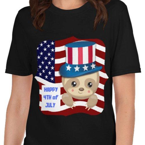 4th-of-July-Sloth-Uncle-Sam-Shirt-Sloth-Black-T-Shirt