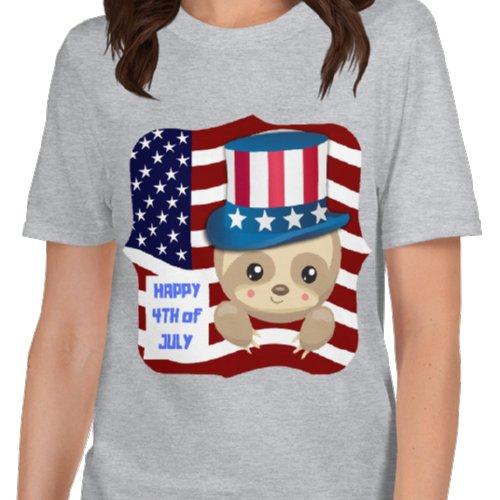 4th-of-July-Sloth-Uncle-Sam-Shirt-Sloth-Grey-T-Shirt