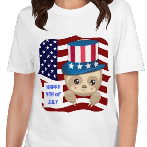 4th-of-July-Sloth-Uncle-Sam-Shirt-Sloth-White-T-Shirt