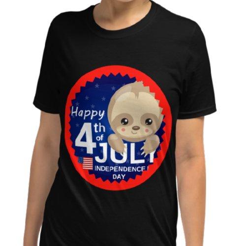 Baby Sloth 4th of July Shirt Black Shirt