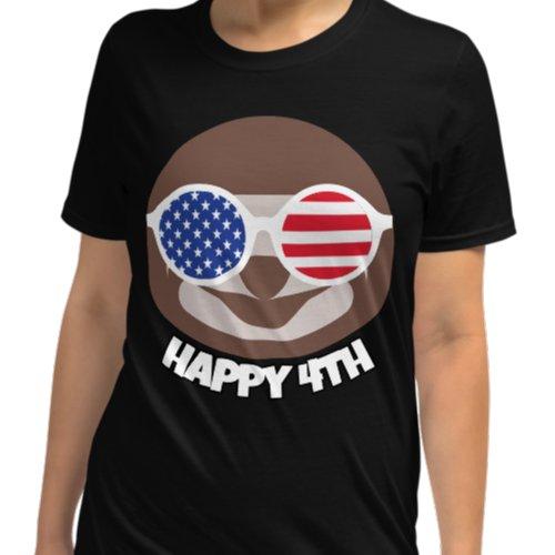 Cool Sloth Happy Fourth of July Black Shirt