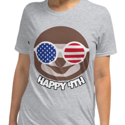 Cool Sloth Happy Fourth of July Grey Shirt