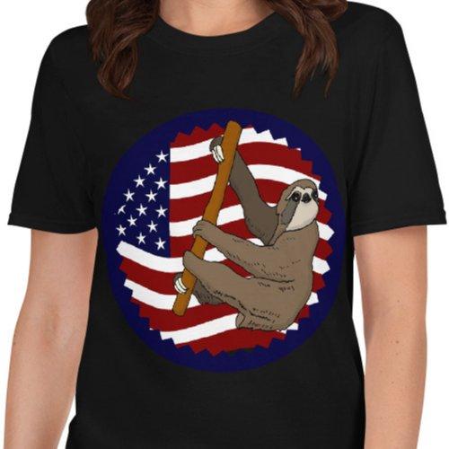 USA Flag Climbing Sloth Shirt Black