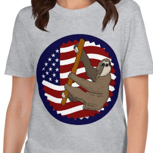 USA Flag Climbing Sloth Shirt Grey