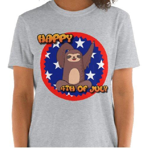 Waving Sloth Happy 4th Of July T-shirt Grey