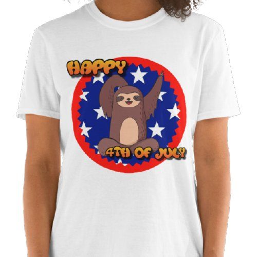 Waving Sloth Happy 4th Of July T-shirt White
