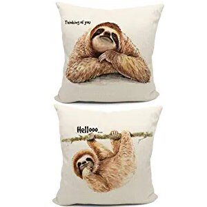 18x18 Sloth Reversible Throw Pillow Case