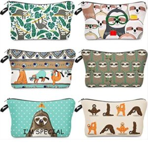 6 Piece Makeup Bags Sloth Cosmetic Pouch Set