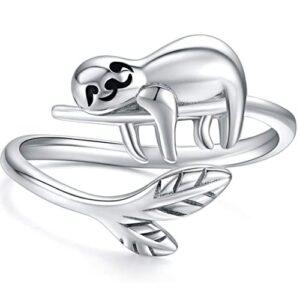 Adorable Sloth Adjustable Sterling Silver Ring