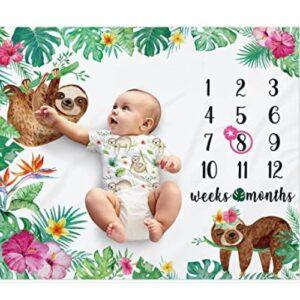 Adorable Sloth Baby Monthly Milestone Blanket