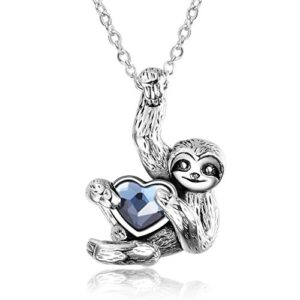 Blue Heart Crystal Sloth Silver Necklace