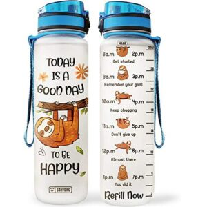 Cute Sloth Inspirational Water Bottle