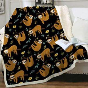 Lightweight Flannel Sloth Fleece Blanket