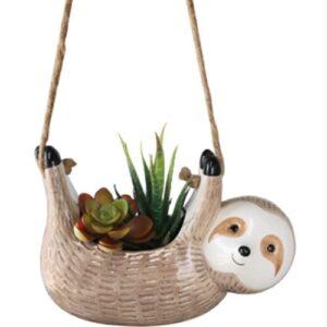 Outdoor Indoor Ceramic Sloth Hanging Planter
