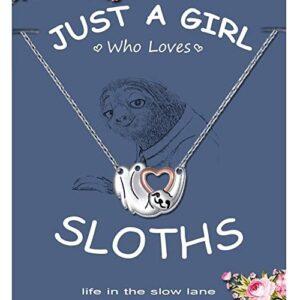 Silver Sloth Charm Necklace Stylish Jewelry
